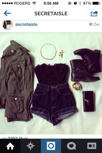 bralette black shirt lace top black lace shirt little black boots army green jacket jewels bustier
