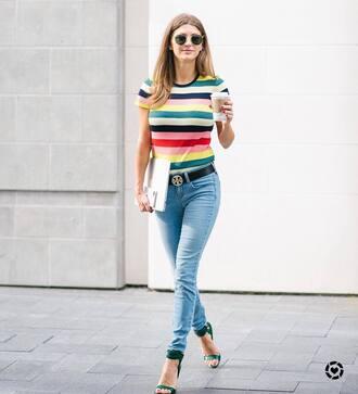 top tumblr stripes striped top denim jeans blue jeans skinny jeans belt sandals sandal heels high heel sandals sunglasses logo belt