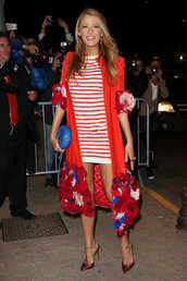 dress,stripes,striped dress,pumps,blake lively,mini dress,red dress,cannes,coat,shoes