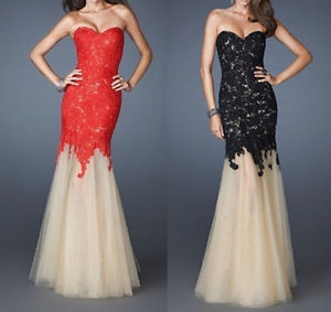 Stock Black Red Lace Prom Bridesmaid Evening Gown Party Evening Dress Size 4 16 | eBay