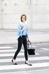 katarina vidic,katiquette. street style,blogger,jeans,bag,shirt,black jeans,off the shoulder,denim top,black flats,lace up