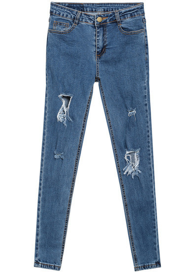 Stone Wash Ripped Slim Pants   Outfit Made
