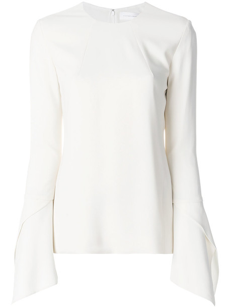Victoria Beckham blouse women spandex bell sleeves white silk top