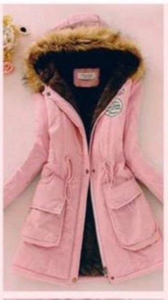 jacket pink coat hood hoodie coat winter coat