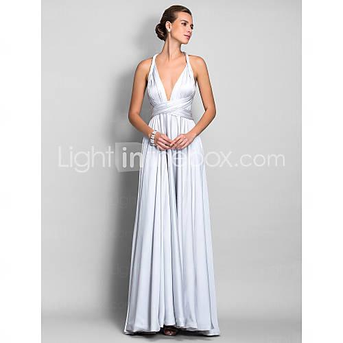 a-line remmar golv-längd satin chiffong evengin klänning (682.738) - USD $ 109.79