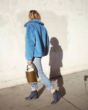 jacket,tumblr,faux fur jacket,fur jacket,blue jacket,denim,jeans,blue jeans,boots,blue boots,ankle boots,monochrome,monochrome outfit,bag,all blue