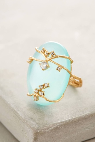 jewels mint pastel blauw light blue blue cute style gold diamonds ring summer spring lovely
