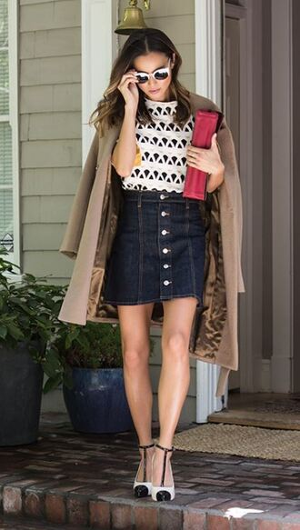 top skirt denim skirt jamie chung blogger shoes coat pumps