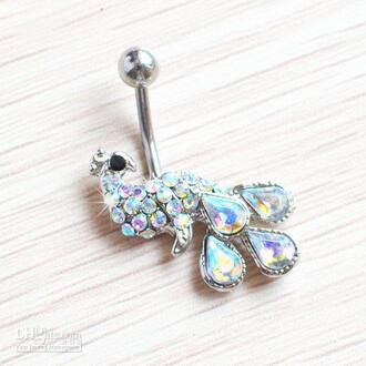 jewels silver stoned peacock belly button ring