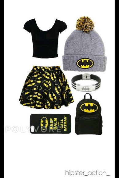 batman skirt skater skirt backpack beanie iphone case bag phone case jewels