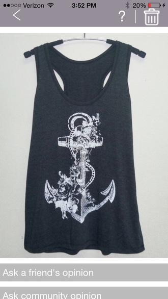 top summer top anchor shirt blue shirt