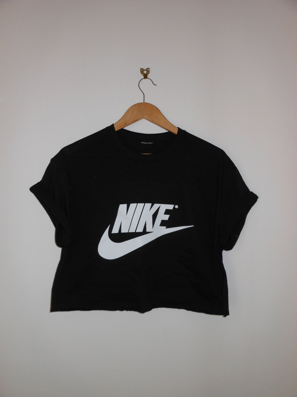Classic black nike swag style crop top tshirt fresh boss dope celebrity festival clothing fashion urban unique sexy