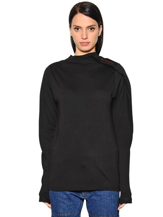 t-shirt shirt asymmetrical cotton black top