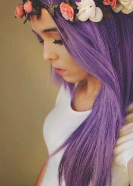 hair accessory hair dyed purple cute