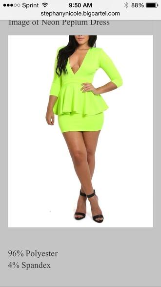 dress neon peplum mini line yellow