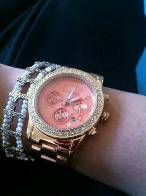 jewels michael kors watch pink gold watch mk michael kors gold michael kors mk pink glitz pink and gold michael kors