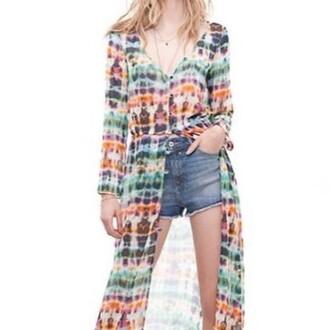 blouse tie dye gypsy festival top colorful vintage