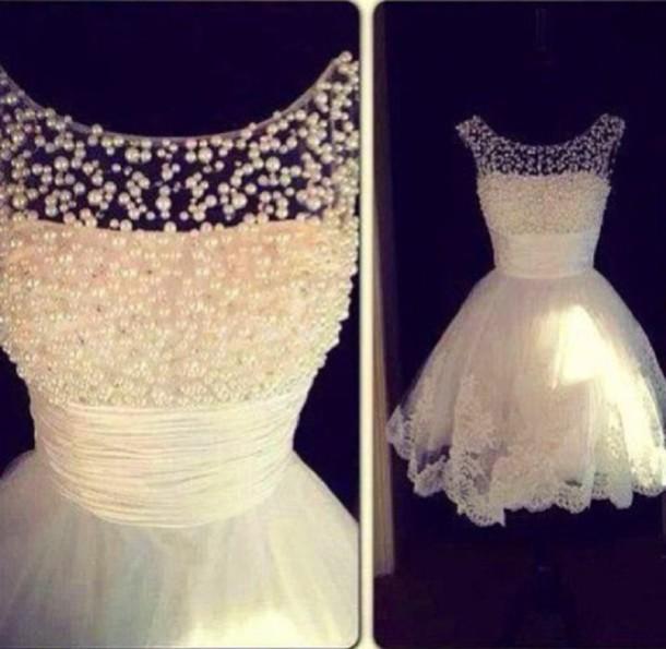 dress white dress short dress wedding dress lace dress pearl prom dress homecoming dress prom gowns evening dress