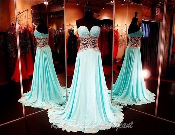 dress prom dress strapless dress teal dress teal gold corset