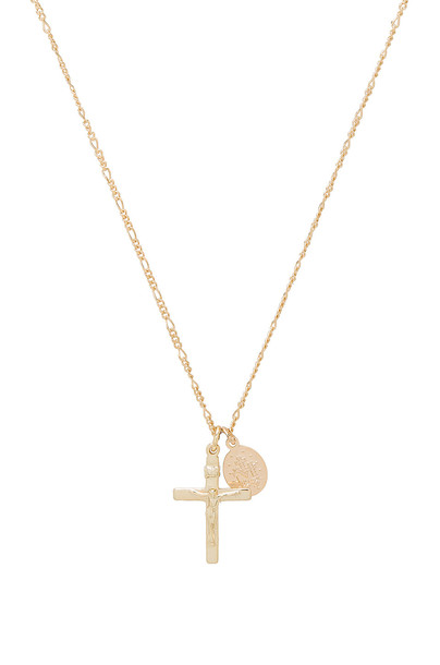joolz by Martha Calvo Cross & Saint Charm Necklace in gold / metallic