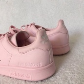 shoes,pink shoes,pink,rose,stan smith,adidas stan smith pink,adidas,raf simons,pastel sneakers,pink sneakers,adidas shoes,baby pink,light pink,custom,cute,kawaii,japan,love,tumblr,girl,sweet,girly wishlist,workout,cute shoes