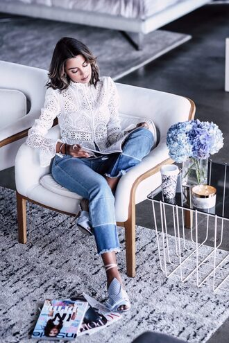 shirt tumblr white shirt denim jeans blue jeans ripped jeans shoes white shoes high heels heels chair