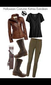 t-shirt,katniss everdeen,the hunger games,jacket,shoes,jeans,jewels,halloween,halloween costume