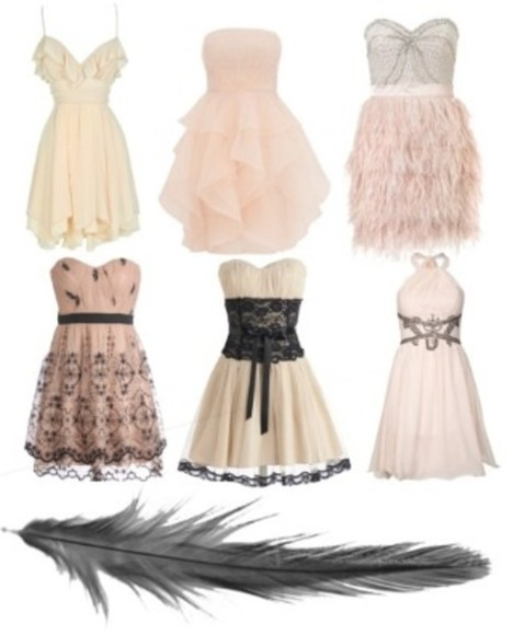 dress gown pink blush formal cute outfit polyvore cocktail lace black feather great the great gatsby twentys evening gowns cocktail dresses black