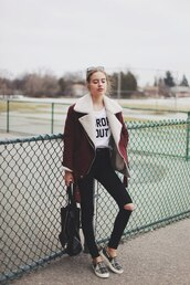 jacket,shearling jacket,Taylor hill,hipster,class is internal,sonya esman,coat,burgundy,whool,laine,col,rose,blanc,winter jacket