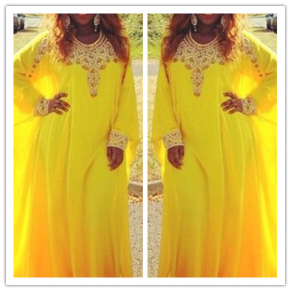 yellow dress evening dress kaftan dress yellow dubai style dress