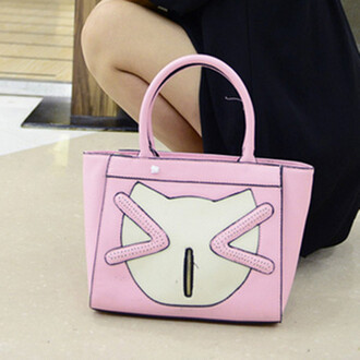 bag lovely cats smiling smiling face pu leather tote bag cartoon women