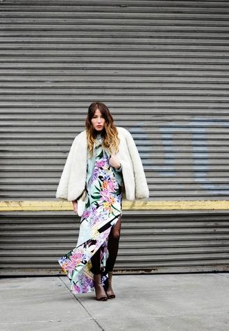 the marcy stop blogger slit dress tropical faux fur jacket white jacket maxi dress