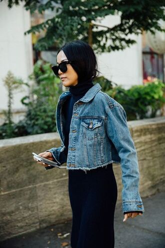 jacket tumblr black dress sweater dress turtleneck turtleneck dress knitted dress knitwear denim jacket cropped jacket blue jacket denim sunglasses black sunglasses