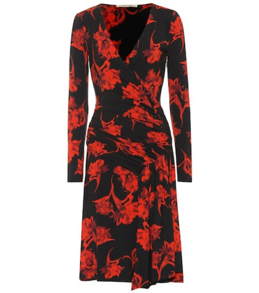 Roberto Cavalli Printed stretch jersey dress in red