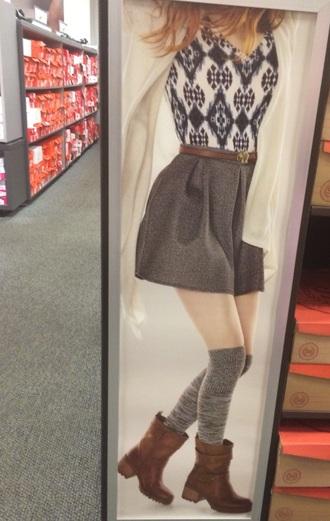 skirt boots socks knee high socks