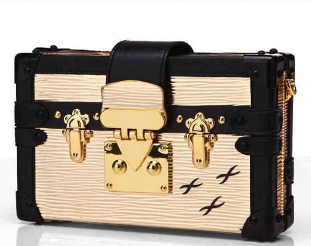 60477f9846b7 bag gold black metallic handbag purse goth harajuku fashion style buckeled  clasp louis vuitton louis vuitton
