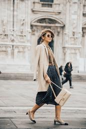 skirt,tumblr,midi skirt,blue skirt,polka dots,coat,nude coat,shoes,french girl style,french girl,sunglasses,hat,beret,pumps