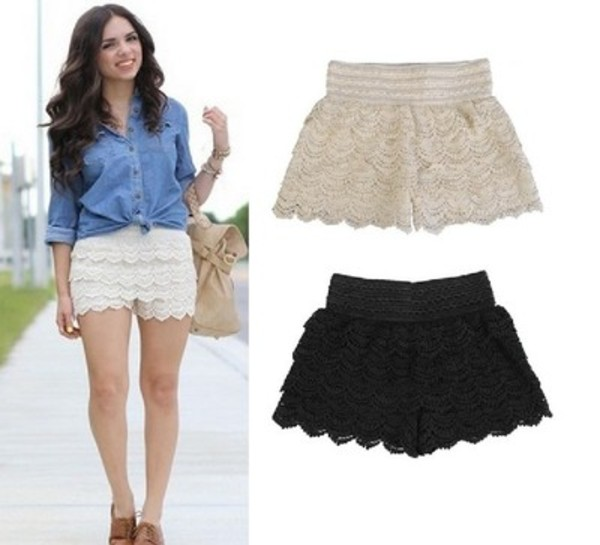shorts short lace shorts