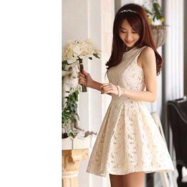 dress asian white asian fashion cream dress kawaii dress