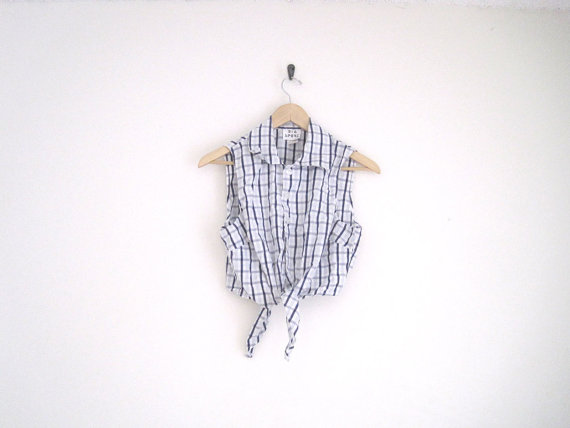 vintage 90s blue plaid top with front tie / by helloambition