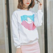 sweater,pastel,white,long sleeves,teenagers,cool,boogzel