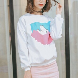 sweater pastel white long sleeves teenagers cool boogzel