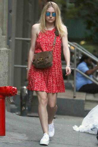 dress red dress summer dress dakota fanning sneakers sunglasses shoes