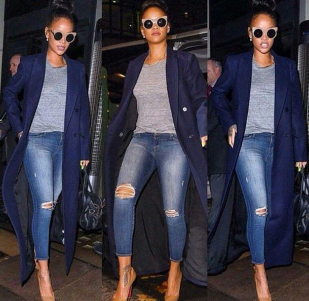 coat rihanna blue coat navy jeans jacket bag sunglasses top pants