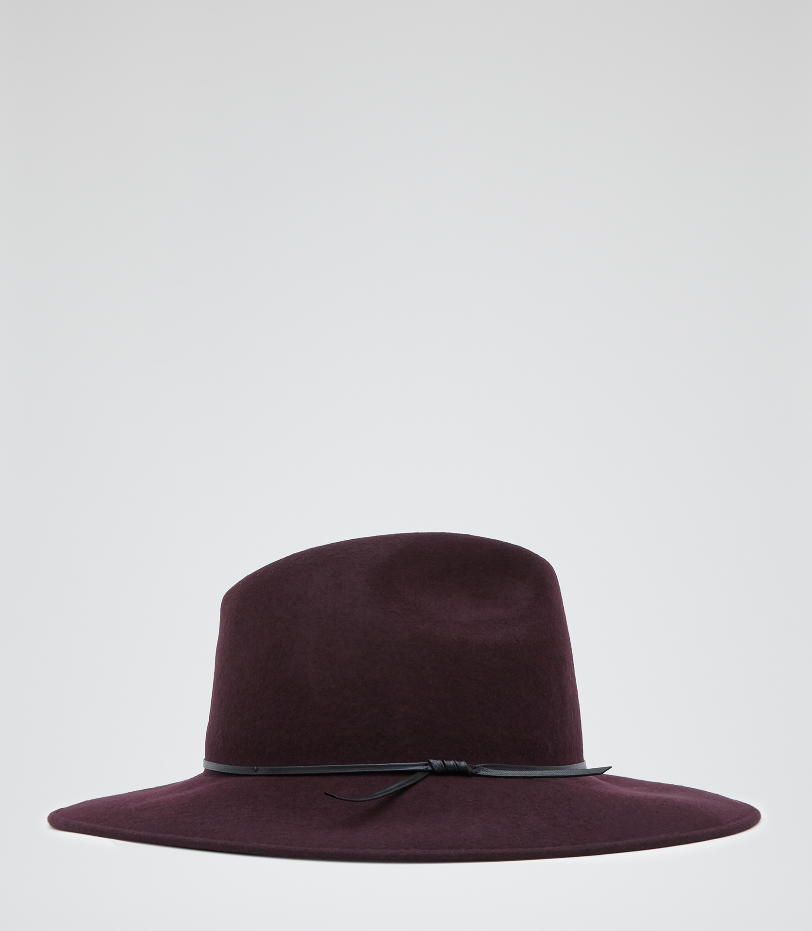 Mimi Burgundy Wide Brim Wool Trilby - REISS