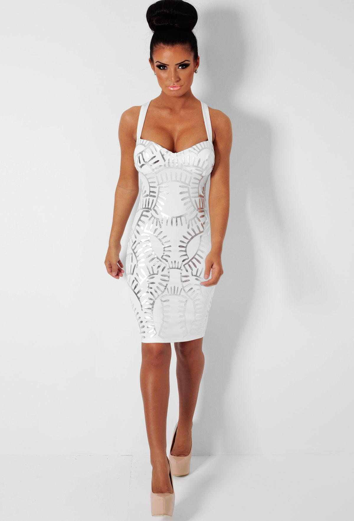Clear White & Silver Metallic Bodycon Mini Dress | Pink Boutique