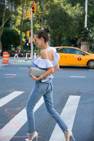 top tumblr off the shoulder off the shoulder top gingham blue top jeans denim blue jeans high heels heels bag shoes