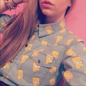 shirt denim denim shirt cartoon bart simpson bart shirt