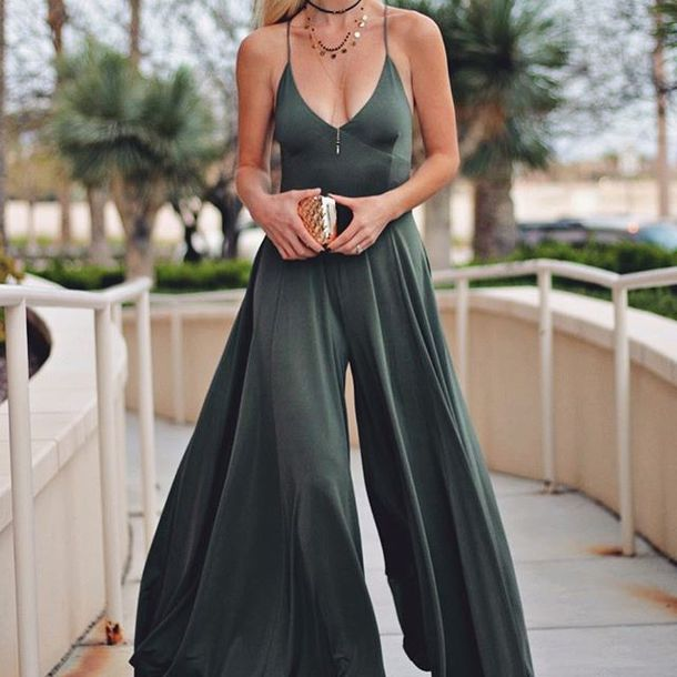 jumpsuit wide-leg pants wide leg jumpsuit satin jumpsuit green jumpsuit angl