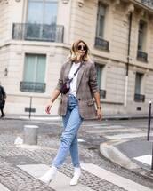 bag,belt bag,mini bag,zip,white boots,high heels boots,jeans,blazer,check blazer,round sunglasses,white t-shirt